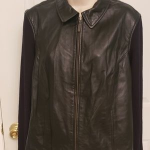 Jaclyn Smith Classic Leather Sweater Jacket